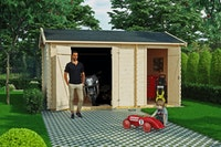 Skan Holz 28 mm Gartenhaus Flexi 1 / 2 inkl. gratis Fundamentanker/Pads