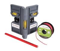 Montagehilfe-Set (Winkelwasserwaage, Maurer-Schnur sowie Zimmermannsbleistift)