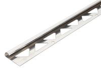 GAH Fliesen-Viertelkreisprofil, Edelstahl, Breite 23,5mm, Länge 2,5m