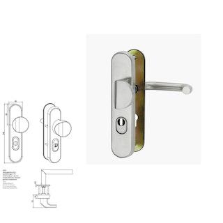 Griffwerk Kombi-Schutzbeschlag TITANO SB_884 Schutzklasse ES1 mit ZA 92 mm