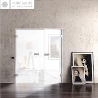 GRIFFWERK Ganzglastüre SNOWWHITE 501 keramischer Siebdruck- ESG Glas
