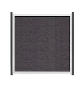 GroJa Viento Designzaun Typ Quadratisch 180x180 mit Rahmen Silber