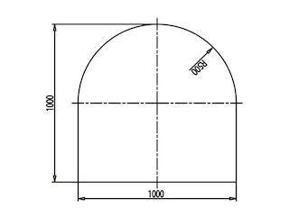 Haas+Sohn Funkenschutzplatte Klarglas Form C - mit Rundbogen
