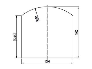 Haas+Sohn Funkenschutzplatte Klarglas Form E -Segmentboden mit Dekorrahmen
