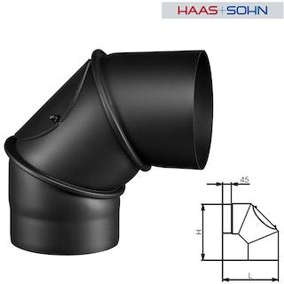 Haas+Sohn Knie 90° für Kaminbausatz-&einsatz -perl-schwarz