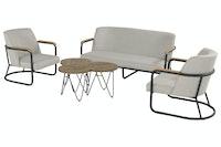 Hartman Lounge Set STUDIO 54 Aluminium carbon black / Teak / Sunbrella® (100 % Polyacryl) grey