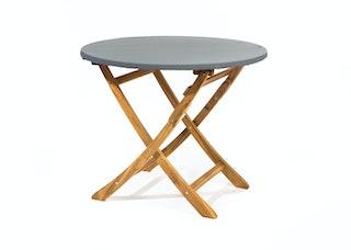 Heinemeyer Abdeckhaube für Tischplatte rund Ø 120 cm mit Gummizug, Teak Safe grau