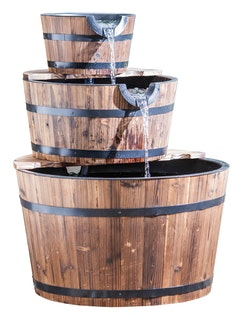 Heissner Gartenbrunnen Wooden Barrels mit 3 Kübeln (016592-00)