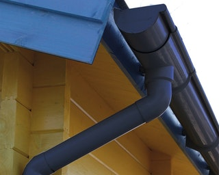 Kunststoff Dachrinnenset für Skan Holz Blockbohlenhaus Lausanne