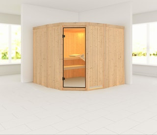Karibu Sauna Simara 3 mit Eckeinstieg 68 mm