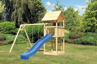 Akubi Kinderspielturm Lotti mit Satteldach inkl. Wellenrutsche und Doppelschaukelanbau (Set B)