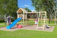 Akubi Kinderspielturm Lotti inkl. Wellenrutsche und Doppelschaukelanbau mit Klettergerüst (Set C),
