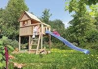 Akubi Kinderspielturm Frieda mit Anbau und Rutsche (Set A)