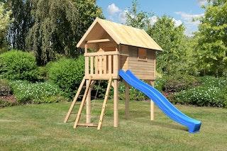 Akubi Kinderspielhaus Kinderspielgerät Gernegross inkl. Wellenrutsche und Netzrampe (Set B)