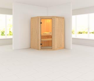 Karibu Sauna Asmada mit Eckeinstieg 68 mm - Rundbogenset