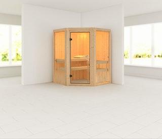 Karibu Sauna Larin mit Eckeinstieg 68 mm