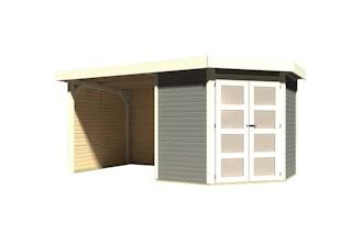 Karibu Gartenhaus Goldendorf 3/5 mit 240 cm Schleppdach + Seiten- und Rückwand - 19 mm