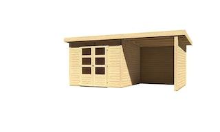 Karibu Woodfeeling Gartenhaus Kandern 6/7 mit 240 cm Schleppdach/Seiten- und Rückwand