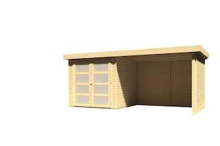 Karibu Gartenhaus Gerätehaus Mühlendorf 2/3/4 mit 260 cm Schleppdach + Seiten- und Rückwand - 19 mm