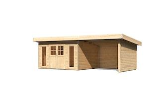 Karibu Premium Gartenhaus Tecklenburg 1/2 mit 300 cm Schleppdach/Seiten- und Rückwand - Türversion Classic