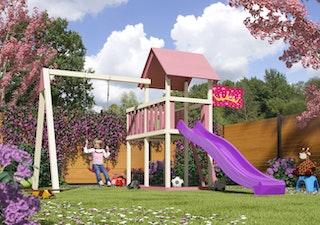 Akubi Kinderspielturm Lotti mit Satteldach Set Prinzessin Schloss