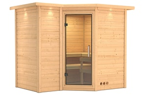 Karibu Sauna Sahib 2-Massivholzsauna 40mm -Eckeinstieg - Exklusivoptik
