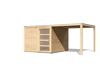 Karibu Gartenhaus Qubic 2 mit Schiebetür und 270 cm Anbaudach - 19 mm