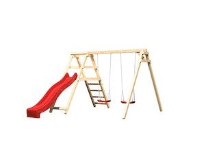 Akubi Kinderspielgerät Doppelschaukel Felix mit Klettergerüst und Rutsche