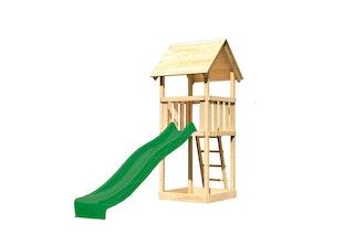Akubi Kinderspielturm Lotti mit Satteldach inkl. Wellenrutsche (Set A)