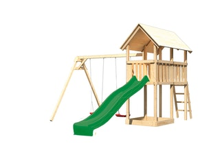 Akubi Kinderspielturm Danny inkl. Wellenrutsche und Doppelschaukelanbau (Set B)