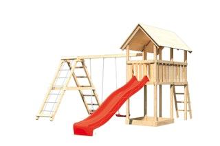 Akubi Kinderspielturm Danny inkl. Wellenrutsche und Doppelschaukelanbau mit Klettergerüst (Set C)