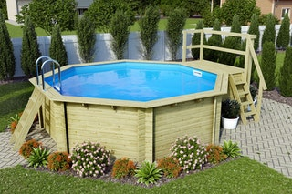 Karibu Pool Modell 2 B Sparset Komfort - kesseldruckimprägniert - 550 x 470 cm