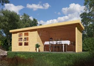 Karibu Woodfeeling Gartenhaus Askola 2/3/3,5/4/5 m. 240 cm Schleppdach/Seiten- und Rückwand