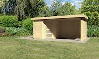 Karibu Woodfeeling Gartenhaus Schwandorf 3/5 inkl. 275 cm Schleppdach/Seiten- und Rückwand