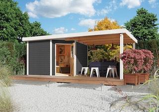 Karibu Woodfeeling Gartenhaus Neuruppin 2 inkl. 240/300 cm Schleppdach/Seiten- und Rückwand