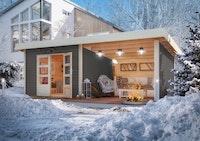 Karibu Woodfeeling Gartenhaus Northeim 3 inkl. 300 cm Schleppdach/Seiten- und Rückwand