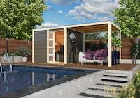 Karibu Gartenhaus Qubic 1 mit Schiebetür und 240 cm Anbaudach - 19 mm