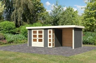 Karibu Woodfeeling Gartenhaus Kerko 3/4/5 mit 240 cm Schleppdach/Seiten- und Rückwand