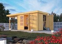 Karibu Woodfeeling Gartenhaus Retola 2/3/4/5/6 inkl. Anbauschrank u. 240 cm Schleppdach