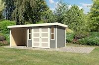 Karibu Gartenhaus Gerätehaus Mühlendorf 2/3/4 mit 240 cm Schleppdach + Seiten- und Rückwand - 19 mm