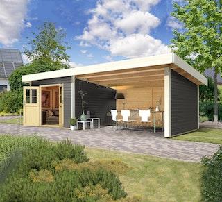 Karibu Premium Gartenhaus Moosburg 3 mit 3,30 m Anbaudach und Rückwand - Türversion Classic