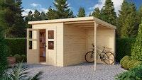 Karibu Gartenhaus Hamburg 4 im Set mit Anbaudach und Rückwand naturbelassen - Moin Aktion