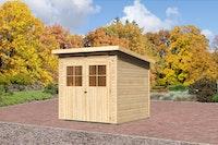 Karibu Gartenhaus Bremen 3 mit Fußboden und selbstklebender Folie naturbelassen  - Moin Aktion