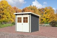 Karibu Gartenhaus Bremen 3 mit Fußboden und selbstklebender Folie terragrau - Moin Aktion