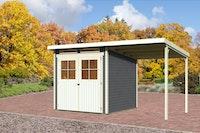 Karibu Gartenhaus Bremen 3 mit Anbaudach 2 m mit Fußboden und selbstklebender Dachfolie terragrau - Moin Aktion