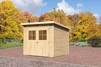Karibu Gartenhaus Bremen 4 mit Fußboden und selbstklebender Folie naturbelassen  - Moin Aktion