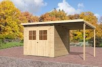 Karibu Gartenhaus Bremen 4 mit Anbaudach 2 m mit Fußboden und selbstklebender Dachfolie naturbelassen  - Moin Aktion