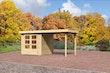 Karibu Gartenhaus Jever 2 mit Anbaudach  2,40 m Breite naturbelassen  - Moin Aktion