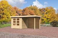 Karibu Gartenhaus Jever 2 mit Anbaudach  2,40 m Breite und 19 mm   naturbelassen  - Moin Aktion