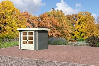Karibu Gartenhaus Jever 2 mit Fußboden und selbstklebender Dachfolie terragrau - Moin Aktion